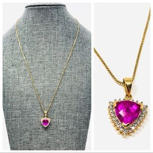 Jewelry - 🆕 looks real! Sterling/gold overlay, ruby* nklce
